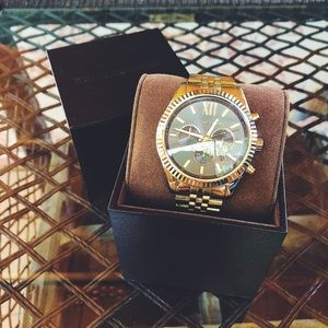 Oversized gold Michael Kors women's watch